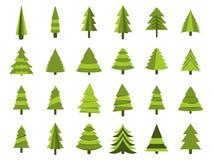 Weihnachtsbäume in einer flachen Art Tannenisolierung auf einem weißen Hintergrund Vektor Lizenzfreies Stockfoto