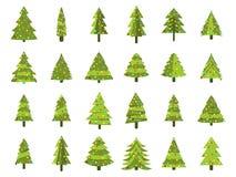 Weihnachtsbäume in einer flachen Art Verzierter Weihnachtsbaum Tannenbäume lokalisiert Stockbild