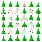 Weihnachtsbäume eingestellt Stockfoto