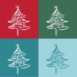 Weihnachtsbäume im 4 Farbhintergrund Stockbilder