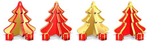 Weihnachtsbäume mit Geschenken Lizenzfreies Stockfoto