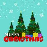Weihnachtsbäume mit Geschenken für Weihnachtsfeier Stockfoto