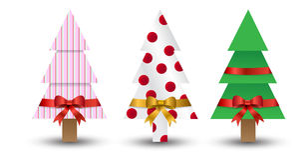 Weihnachtsbäume oben eingewickelt Stockfotos