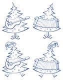 Weihnachtsbäume, Set, Musiker Lizenzfreie Stockfotografie