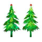 Weihnachtsbäume stellten ein Weihnachtszeit-Grünbäume und rotes Ball- oder Schneefallaquarell handgemalt Lizenzfreies Stockbild