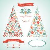 Weihnachtsbäume und grafische Elemente Stockfotos