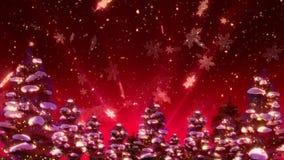 Weihnachtsbäume und Schnee (HD-Animations-Schleife) stock abbildung