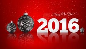 Weihnachtsball auf Winterhintergrund mit Schnee und Schneeflocken H Lizenzfreies Stockfoto