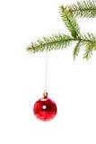 Weihnachtsball, der im Weihnachtsbaum hängt stockbild