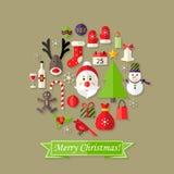 Weihnachtsball-flache Ikonen eingestellt mit Santa Claus Lizenzfreies Stockfoto