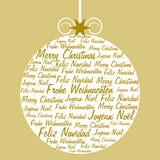 Weihnachtsball gebildet und mit Text gefüllt Stockfotografie