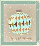 Weihnachtsball gemacht von der Weinleseart Lizenzfreie Stockbilder