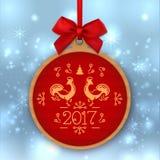 Weihnachtsball guten Rutsch ins Neue Jahr 2017, Grußkartenschablone, Aufkleber vektor abbildung