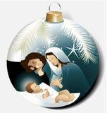 Weihnachtsball mit heiliger Familie Stockbild