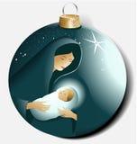 Weihnachtsball mit Maria und Jesus Stockbild