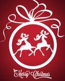 Weihnachtsball mit Rotwildvektorillustration Lizenzfreie Stockfotografie
