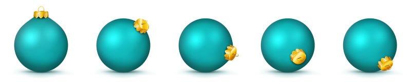 Weihnachtsball-Sammlung in der Türkis-Farbe - Vektor-Panorama-Flitter-Satz stock abbildung