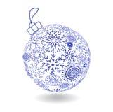 Weihnachtsball von gemachten Schneeflocken lizenzfreie abbildung