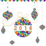 Weihnachtsball von geometrischen Formen Feiertagsdesign, Dreieckmuster Auch im corel abgehobenen Betrag Lizenzfreies Stockbild