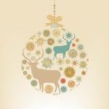 Weihnachtsballschneeflocken und -rotwild. ENV 8 vektor abbildung