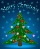 Weihnachtsbaum auf blauem Hintergrund Stockbilder