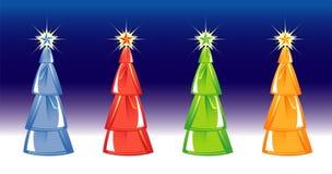Weihnachtsbaum auf blauem Hintergrund. vier Farben. Lizenzfreie Stockfotos