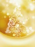 Weihnachtsbaum auf bokeh, Gruß-Karte. ENV 8 Stockbild