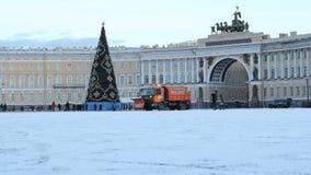 Weihnachtsbaum auf dem Palast-Quadrat stock footage