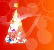 Weihnachtsbaum auf dem roten Hintergrund Lizenzfreie Stockbilder