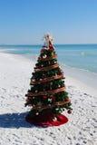 Weihnachtsbaum auf dem Strand Stockfotografie
