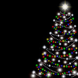 Weihnachtsbaum auf einem schwarzen Hintergrund. Vektor Stockfoto