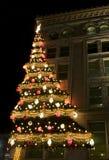 Weihnachtsbaum auf Gebäude Stockbild