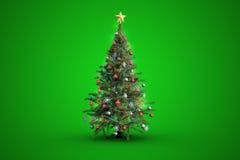 Weihnachtsbaum auf grünem Hintergrund Lizenzfreies Stockfoto