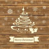 Weihnachtsbaum auf hölzerne Bretter vektor abbildung