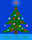 Weihnachtsbaum auf Nachtsternhintergrund Lizenzfreies Stockfoto