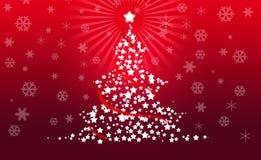 Weihnachtsbaum auf rotem Hintergrund Stockfotografie