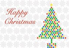 Weihnachtsbaum auf Schneeflocken Stockbild