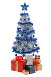 Weihnachtsbaum auf Weiß mit Geschenken Stockfotografie