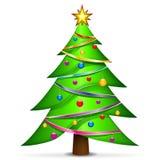 Weihnachtsbaum auf weißem Hintergrund Lizenzfreie Stockfotos