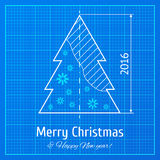 Weihnachtsbaum auf Zeichenpapier mit Maßeinteilung Stockfoto