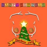 Weihnachtsbaum, Basketballball und Skizze der Brust stock abbildung