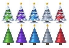 Weihnachtsbaum 3D stellte 2 ein Lizenzfreie Stockfotos
