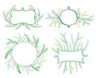 Weihnachtsbaum-Dekorelemente für Einladungen Vektor Feiertag des neuen Jahres Lizenzfreies Stockfoto