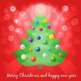 Weihnachtsbaum in den Lichtern Stockfotografie
