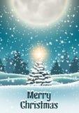 Weihnachtsbaum in der schneebedeckten Landschaft mit großem Mond vektor abbildung
