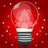Weihnachtsbaum in einer Glühlampe Lizenzfreie Stockfotos