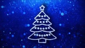 Weihnachtsbaum-Elementblinkenikonen-Partikelgrüße, Einladung, Feierhintergrund stock abbildung