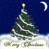 Weihnachtsbaum für das neue Jahr Fallender Schnee glückwunsch Lizenzfreies Stockfoto