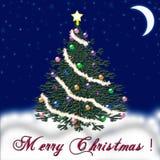 Weihnachtsbaum für das neue Jahr Fallender Schnee glückwunsch Stockfotografie