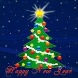 Weihnachtsbaum für das neue Jahr Fallender Schnee glückwunsch Stockbild